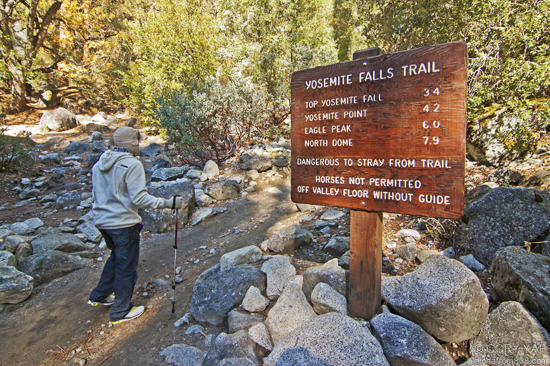 Yosemite upper falls trail november 16 2011 aloha from 808 after a cold night at camp 33 degrees f luke and i started out early on the upper yosemite falls trail youll encounter a sign with a breakdown of publicscrutiny Choice Image