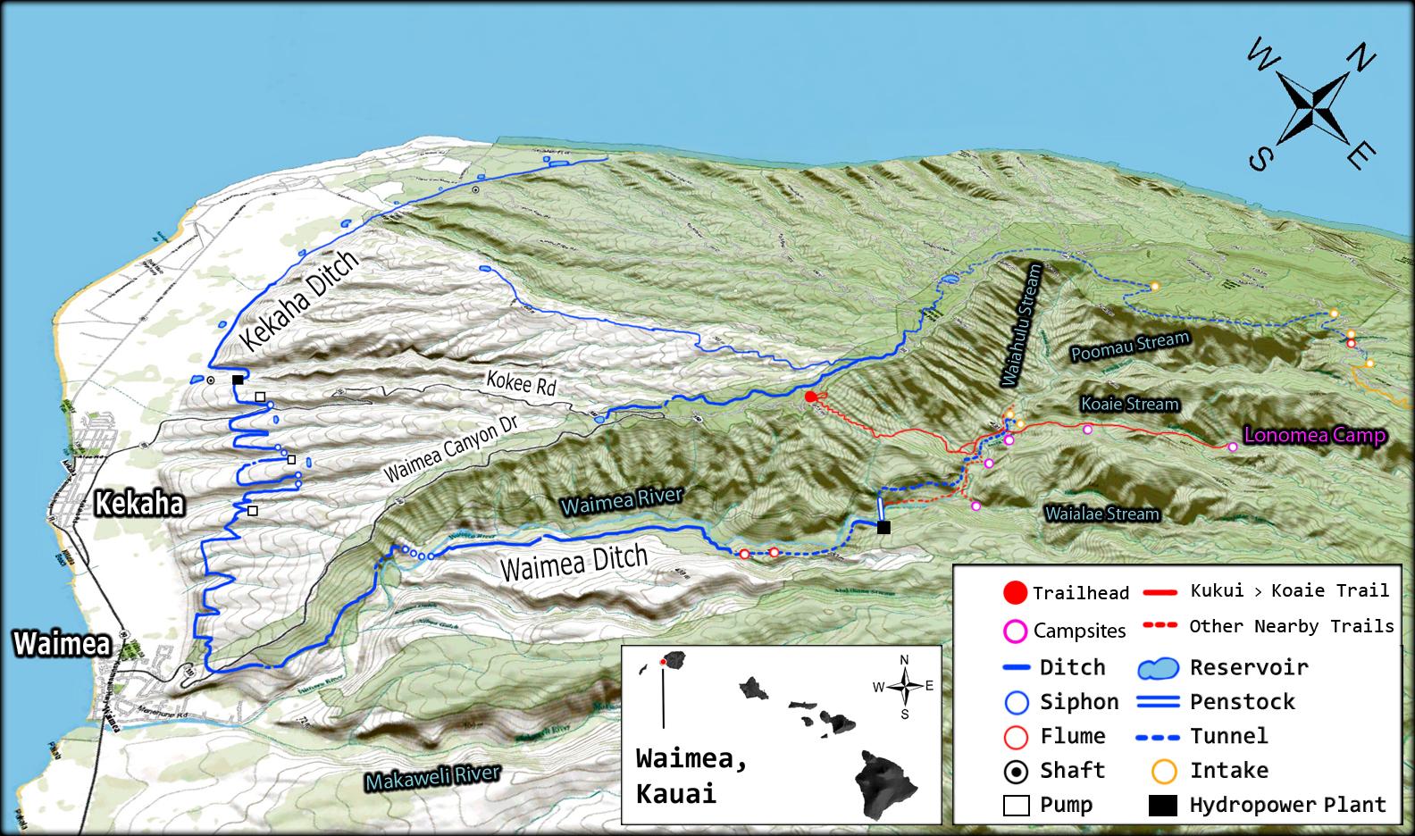 map. backpacking to lonomea – waimea canyon kauai ‹ aloha from
